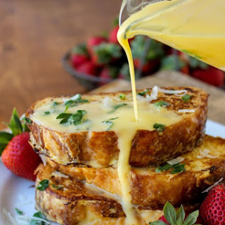 Savory Parmesan French Toast with Hollandaise Sauce.