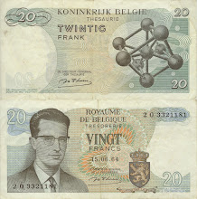 Photo: Atomium, 20 Belgian Francs (1964). This note is now obsolete. Atomium is of course not a person, it is the structure of iron crystals (body-centered cubic).