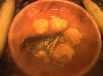 fish soup w/ savory plantain balls