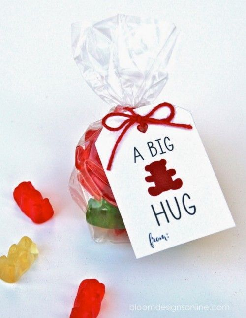 """Cellophane bag filled with colorful gummy bears and a card that says, """"A big bear hug."""""""