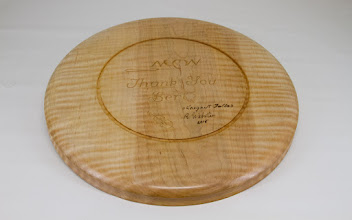 "Photo: Margaret Follas & Richard Webster 10"" plate for Bert Bleckwenn [curly maple]"