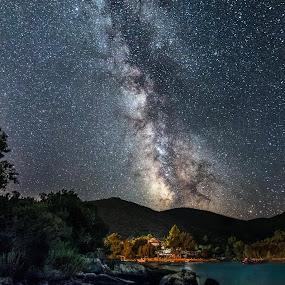 Milky Way over the sea by Celestyx Celestyx - Landscapes Starscapes ( stars, croatia, sea, coast, milky way )