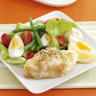 Salt and Pepper Fish with Niçoise Salad.