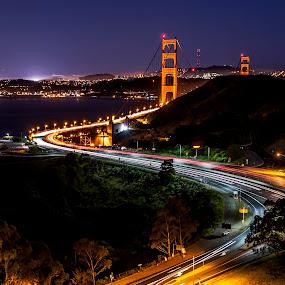 Curves by Artem Kevorkov - Landscapes Travel ( shore, red, golden gate bridge, blue, california, ocean, night, road, trails, san francisco, curves )