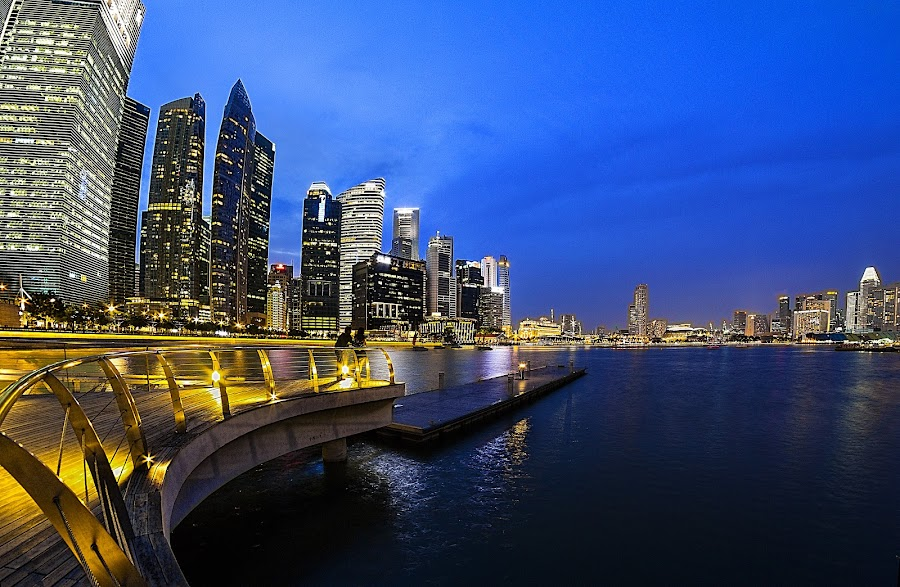 Blue hour - Skylines by Senthil Damodaran - City,  Street & Park  Skylines ( skyline, blue hour, singapopre, pwcskylines )
