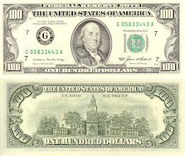 Photo: Benjamin Franklin, 100 United States Dollars (1985). This note is still legal currency and is still in print.