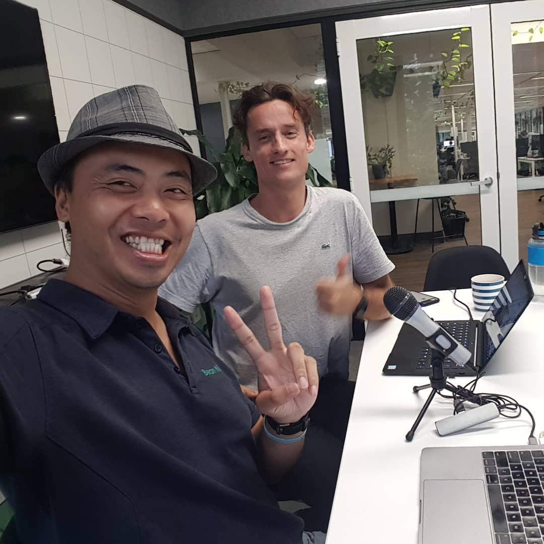 Wayne and Michael recording a Bean Ninjas podcast episode.