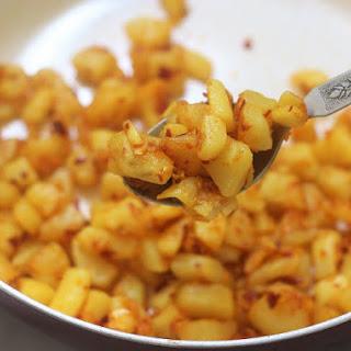 Spicy Garlic Potato Fry, Lehsun Aloo Fry.