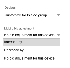 Bing mobile bid adjustment dropdown options