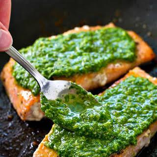 Pan-Seared Salmon with Spinach Basil Pesto Sauce.