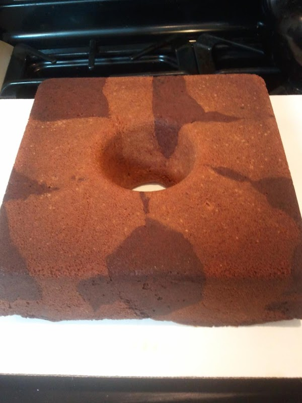 Chocolate Marble Sour Cream Pound cake with Mocha Cream Cheese Frosting. Made in a squate Bundt pan.