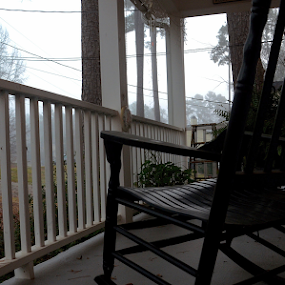 Eerie Morning by Missy Roberts - Buildings & Architecture Other Exteriors ( eerie, chair, fog, ghost, morning, porch )