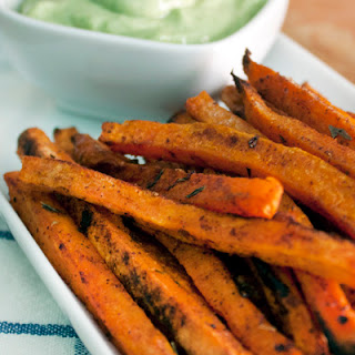 Spicy Sweet Potato Fries and Avocado Dip