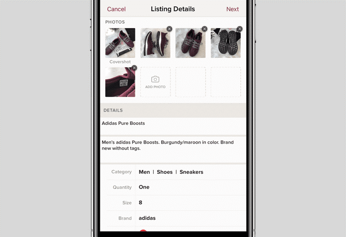 screenshot of uploading listing details for selling on poshmark