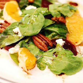 Arugula salad with beets and Gorgonzola cheese.