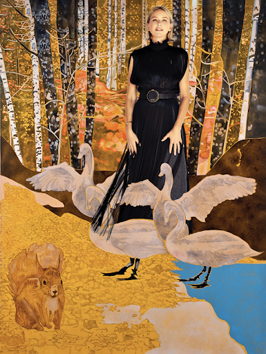 Prada sleeveless fringe dress with organza ruching on collar, grey wool skirt. Naomi's own bracelet. ————————  The Queen of the Night turns Leda into a swan and a squirrel predicts a storm. Oil on canvas,  diptych, 130 x 160 cm per canvas, 2013