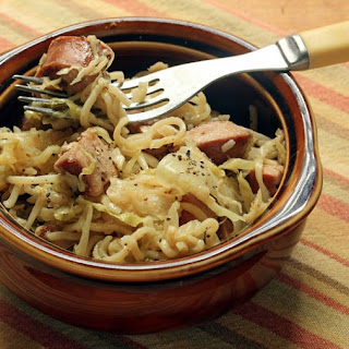 Alsatian Sausage, Cabbage And Noodle Pan Supper