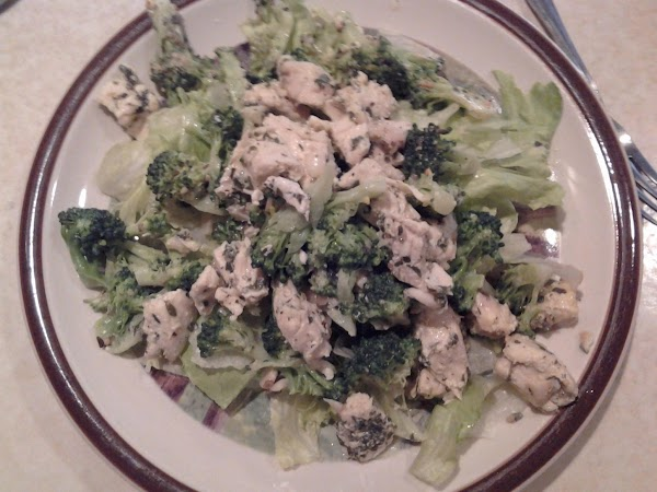 Toss warm broccoli and chicken with the dressing and serve on a bed of...