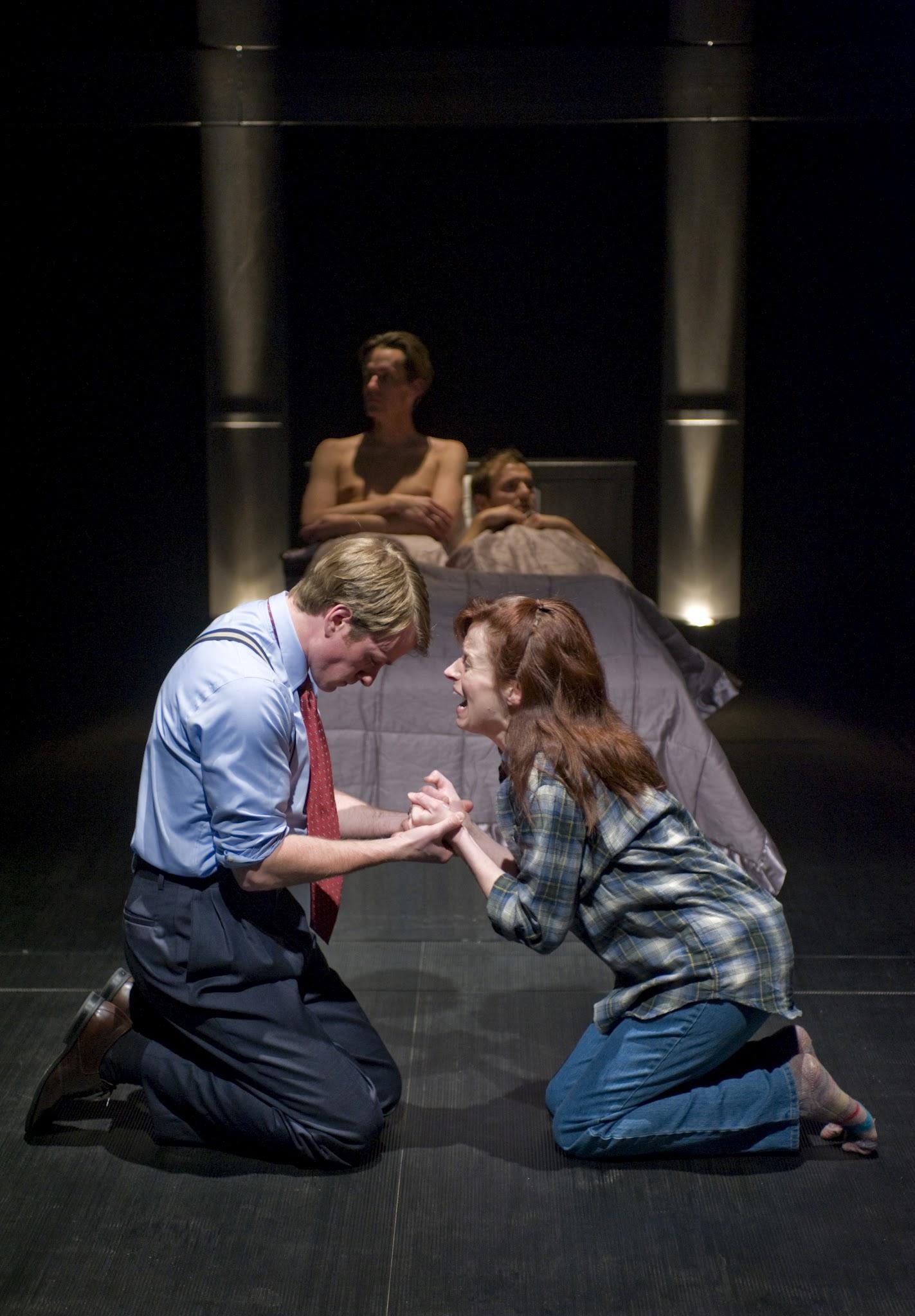 Photo: Harper Pitt (Heidi Kettenring) pleads with her husband Joe. (Photo by Michael Brosilow)
