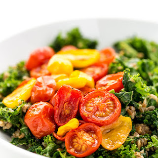 Balsamic Marinated Kale Salad with Bulgar & Roasted Tomatoes