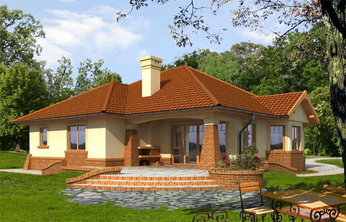 Projekt domu afrodyta tjw 859 for Modele de case fara etaj cu terasa