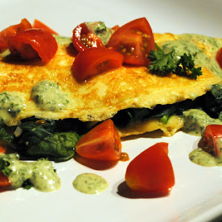 Spinach Omelette with a Savory Dijon Sauce.