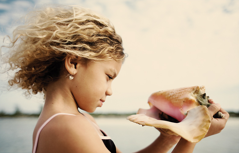"""Photo: Conch (pronounced 'konk') is a common name for this large marine snail. They are plant eaters and can live as long as 25 years. Still plenty of them here, in the Bahamas and they are an important food source for people. We put this one back in the ocean as we wasn't """"fishing"""" (and I have no practice in cleaning them:)"""