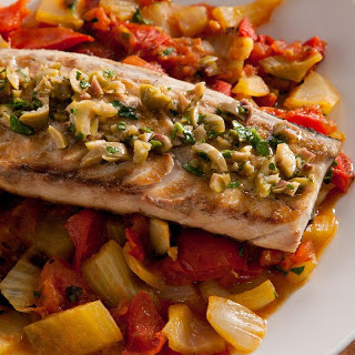 Grilled Mackerel with Tomato, Fennel, and Capers