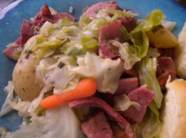 Cooked Cabbage W/ Kielbasa & Ham