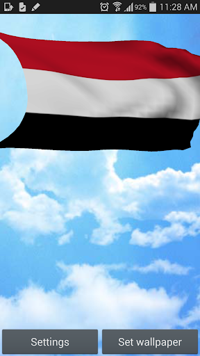 Yemen National Flag 3D Free