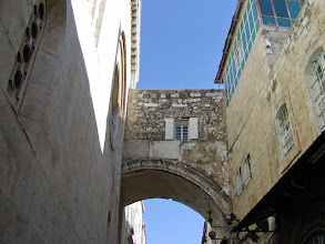 """Photo: The Ecce Homo Arch which spans the Via Dolorosa. Legend says that it was here that Pilate proclaimed """"Behold the man!"""""""