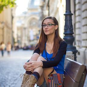 lady on the bench by Mircea Bogdan - People Street & Candids ( girl, bench, street, lady, women )