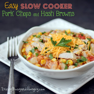 Easy Slow Cooker Pork Chops and Hash Browns.