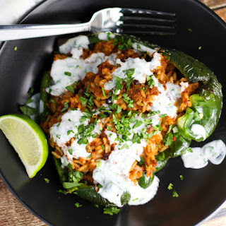 Stuffed Poblano Peppers with Lime Crema.
