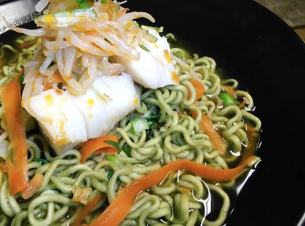 Poached Cod With Green Tea Ramen Topped With Spicy Mung Bean Sprout Salad