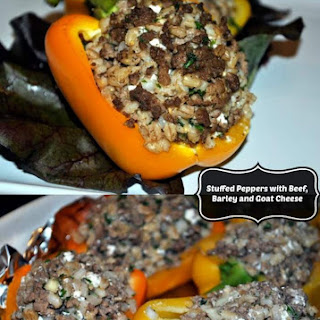 Barley Stuffed Peppers with Ground Beef and Goat Cheese.