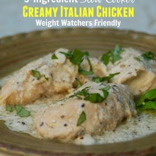 3-Ingredient Slow Cooker Creamy Italian Chicken Made Lighter.