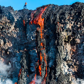 first day of ocean entry..lavafalls by John Tarson - Nature Up Close Rock & Stone