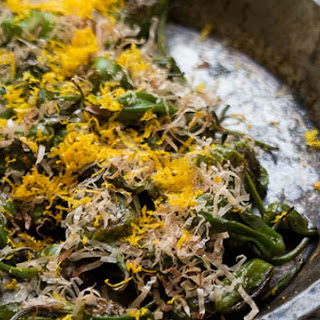 Padrón Peppers with Bonito Flakes and Orange Zest.