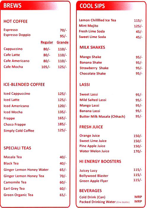 Cafe Festa menu 1
