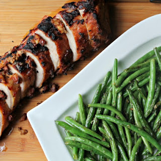 Grilled Pork Loin Filet with Grilled Green Beans Recipe