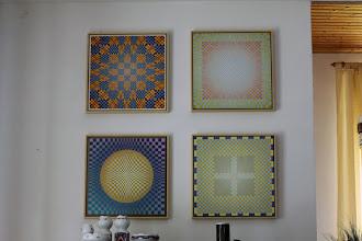"Photo: The 4 paintings by Sjaak van der Leden: ""Mandala 2007"" also exhibited in the former ballroom of the farmer's estate ""Fuchsmühle"""