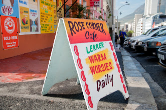 """Photo: Loved this """"warm worsies"""" sign outside the Rose Cafe. But no time for stopping, there was plenty more food waiting."""