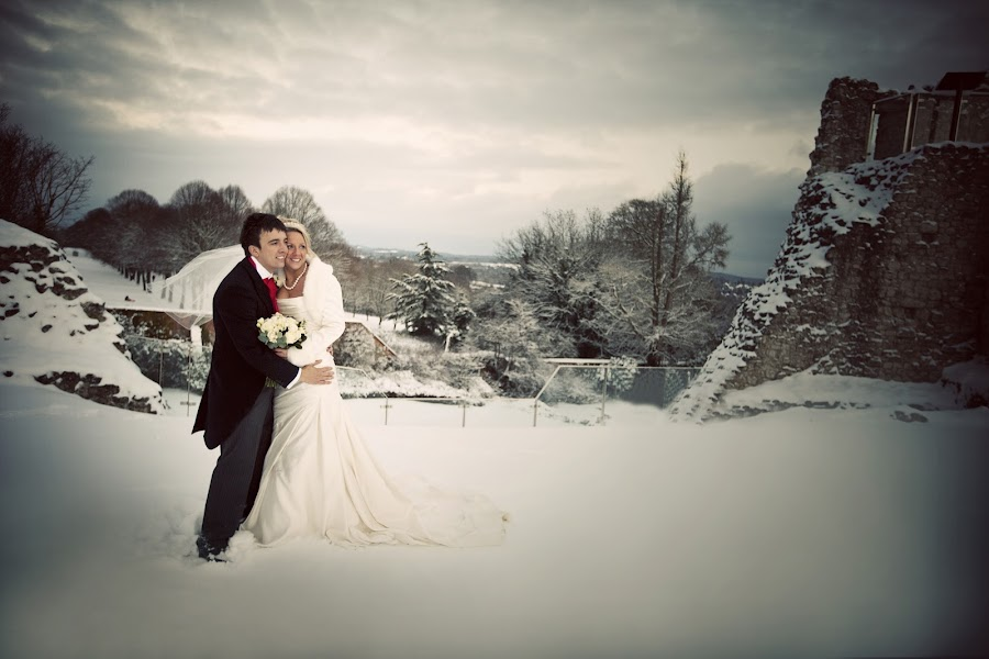 Bride and Groom in the snow on a castle by Kat Toft - Wedding Bride & Groom