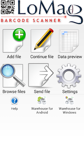 LoMag Data Scanner & Inventory. Barcodes to Excel Screenshot