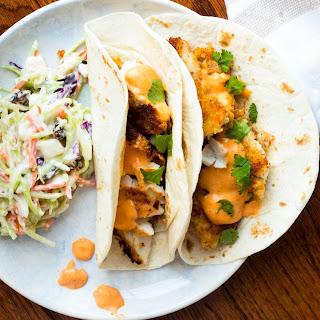 Panko Fish Tacos with Sriracha Lemongrass Sauce.