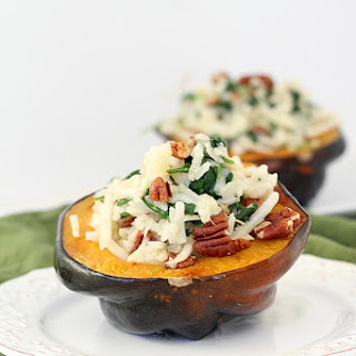 """Turnip and Spinach Rosemary """"Risotto"""" Stuffed Acorn Squash with Pecans"""