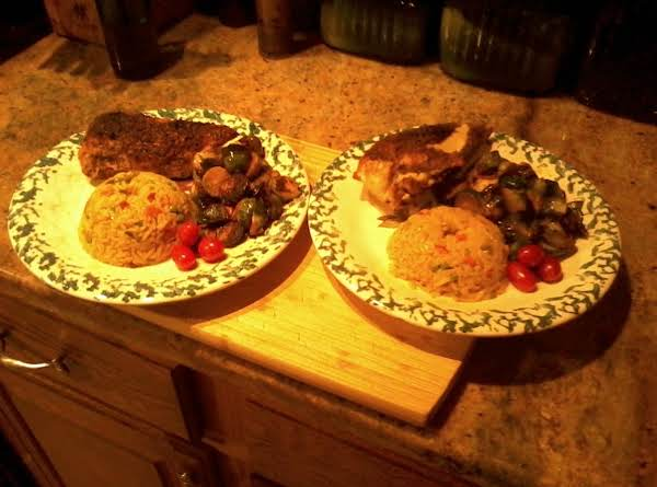 Herb Crusted Chicken Breast(shown With Glazed Brussel Sprouts And Rice Pilaf