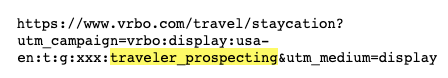 Example Vrbo ad clickthrough URL, with UTM query string parameters for prospecting