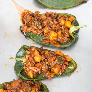 Picadillo Stuffed Poblano Peppers.